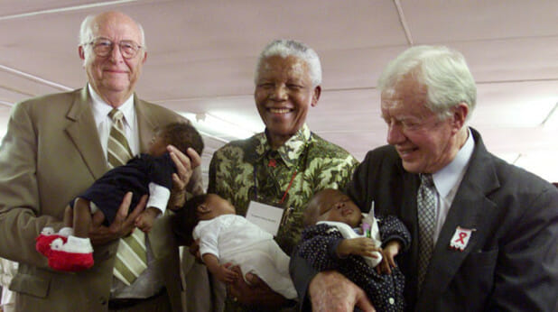 I love this. Bill Gates' father, Nelson Mandela, and Jimmy Carter -- all holding babies with HIV! Stigma-fighting at its finest.