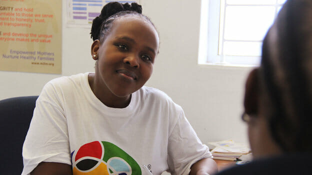 She's a mother talking to another mother - and both are HIV-positive. That's the mentoring role played by Phelokazi Tinzi, who works for mothers2mothers in South Africa.